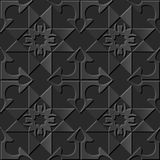 Seamless 3D elegant dark paper art pattern 161 Cross Arrow Check Royalty Free Stock Photography