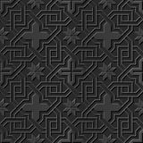 Seamless 3D elegant dark paper art pattern 229 Cross Chain Flower. Antique black paper art retro abstract seamless pattern background Stock Illustration