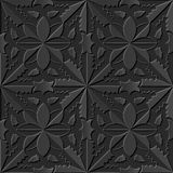 Seamless 3D elegant dark paper art pattern 117 Cross Curve Flower. Antique black paper art retro abstract seamless pattern background Stock Illustration
