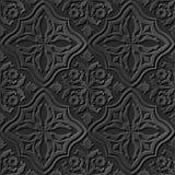 Seamless 3D elegant dark paper art pattern 204 Cross Curve Flower. Antique black paper art retro abstract seamless pattern background Vector Illustration