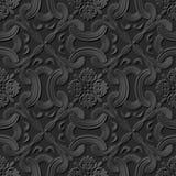Seamless 3D elegant dark paper art pattern 248 Cross Curve Flower Royalty Free Stock Photography