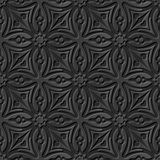 Seamless 3D elegant dark paper art pattern 077 Cross Flower Kaleidoscope. Antique black paper art retro abstract seamless pattern background Stock Illustration
