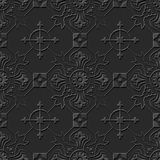 Seamless 3D elegant dark paper art pattern 110 Cross Flower Kaleidoscope. Antique black paper art retro abstract seamless pattern background Vector Illustration