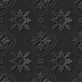 Seamless 3D elegant dark paper art pattern 178 Cross Kaleidoscope Flower Stock Photo