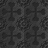 Seamless 3D elegant dark paper art pattern 220 Cross Leaf Kaleidoscope vector illustration