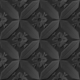 Seamless 3D elegant dark paper art pattern 167 Cross Polygon Flower Stock Photos