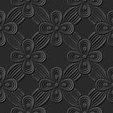 Seamless 3D elegant dark paper art pattern 259 Cross Ribbon Flower Stock Images