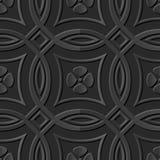 Seamless 3D elegant dark paper art pattern 176 Cross Round Flower. Antique black paper art retro abstract seamless pattern background Royalty Free Illustration