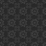 Seamless 3D elegant dark paper art pattern 207 Cross Round Flower. Antique black paper art retro abstract seamless pattern background Royalty Free Stock Image