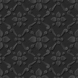 Seamless 3D elegant dark paper art pattern 263 Cross Round Flower Stock Images