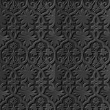Seamless 3D elegant dark paper art pattern 153 Cross Spiral Flower. Antique black paper art retro abstract seamless pattern background Royalty Free Stock Image