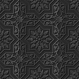 Seamless 3D elegant dark paper art pattern 185 Cross Spiral Flower Royalty Free Stock Photo
