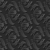 Seamless 3D elegant dark paper art pattern 199 Cross Spiral Flower Royalty Free Stock Images