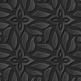 Seamless 3D elegant dark paper art pattern 210 Cross Spiral Flower. Antique black paper art retro abstract seamless pattern background Royalty Free Illustration
