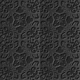 Seamless 3D elegant dark paper art pattern 250 Cross Spiral Flower Vine Stock Photo