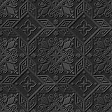 Seamless 3D elegant dark paper art pattern 238 Cross Star Flower Royalty Free Stock Photography