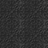 Seamless 3D elegant dark paper art pattern 080 Cross Vine Flower. Antique black paper art retro abstract seamless pattern background Royalty Free Illustration
