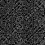Seamless 3D elegant dark paper art pattern 096 Cross Wave Line. Antique black paper art retro abstract seamless pattern background stock illustration