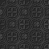 Seamless 3D elegant dark paper art pattern 098 Curve Cross Flower. Antique black paper art retro abstract seamless pattern background Royalty Free Stock Photography