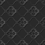Seamless 3D elegant dark paper art pattern 267 Curve Cross Flower Stock Image