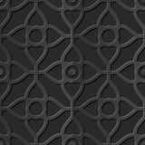 Seamless 3D elegant dark paper art pattern 341 Curve Cross Flower Royalty Free Stock Photography