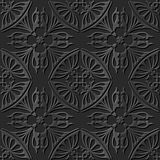 Seamless 3D elegant dark paper art pattern 231 Curve Cross Kaleidoscope Royalty Free Stock Photography