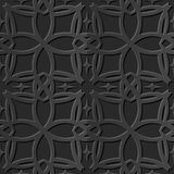 Seamless 3D elegant dark paper art pattern 106 Curve Cross Line. Antique black paper art retro abstract seamless pattern background royalty free illustration