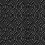 Seamless 3D elegant dark paper art pattern 182 Curve Cross Line. Antique black paper art retro abstract seamless pattern background Royalty Free Stock Image