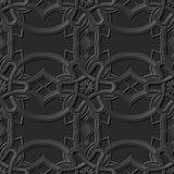 Seamless 3D elegant dark paper art pattern 222 Curve Cross Round Flower. Antique black paper art retro abstract seamless pattern background Vector Illustration