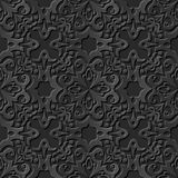 Seamless 3D elegant dark paper art pattern 234 Curve Kaleidoscope Flower. Antique black paper art retro abstract seamless pattern background Stock Illustration