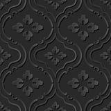 Seamless 3D elegant dark paper art pattern 272 Curve Round Flower Stock Image