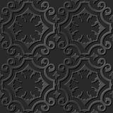 Seamless 3D elegant dark paper art pattern 006 Curve Spiral Cross Royalty Free Stock Photos