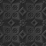 Seamless 3D elegant dark paper art pattern 115 Diamond Check Flower. Antique black paper art retro abstract seamless pattern background Royalty Free Illustration