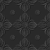 Seamless 3D elegant dark paper art pattern 147 Fan Round Flower. Antique black paper art retro abstract seamless pattern background Stock Images