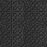 Seamless 3D elegant dark paper art pattern 087 Flower Kaleidoscope. Antique black paper art retro abstract seamless pattern background Stock Illustration