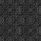 Seamless 3D elegant dark paper art pattern 093 Flower Vine Kaleidoscope. Antique black paper art retro abstract seamless pattern background Royalty Free Illustration