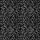 Seamless 3D elegant dark paper art pattern 206 Flower Vine Spiral. Antique black paper art retro abstract seamless pattern background Royalty Free Illustration