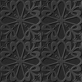 Seamless 3D elegant dark paper art pattern 088 Heart Cross Flower. Antique black paper art retro abstract seamless pattern background Vector Illustration