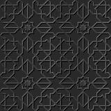 Seamless 3D elegant dark paper art pattern 126 Islam Star Cross Line Stock Images