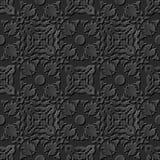 Seamless 3D elegant dark paper art pattern 242 Kaleidoscope Geometry. Antique black paper art retro abstract seamless pattern background Royalty Free Stock Photos