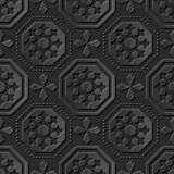 Seamless 3D elegant dark paper art pattern 064 Octagon Cross Dot. Antique black paper art retro abstract seamless pattern background vector illustration