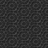 Seamless 3D elegant dark paper art pattern 195 Octagon Cross Flower. Antique black paper art retro abstract seamless pattern background Royalty Free Stock Photography