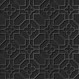 Seamless 3D elegant dark paper art pattern 309 Octagon Cross Flower Stock Photo