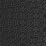 Seamless 3D elegant dark paper art pattern 305 Octagon Cross Flower Stock Images