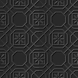 Seamless 3D elegant dark paper art pattern 324 Octagon Cross Flower Royalty Free Stock Images