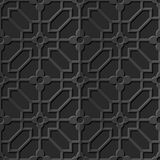 Seamless 3D elegant dark paper art pattern 345 Octagon Cross Flower Royalty Free Stock Photo