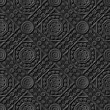 Seamless 3D elegant dark paper art pattern 219 Octagon Square Flower Stock Photo
