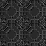Seamless 3D elegant dark paper art pattern 279 Octagon Square Flower Stock Photos