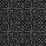 Seamless 3D elegant dark paper art pattern 214 Octagon Star Flower. Antique black paper art retro abstract seamless pattern background Vector Illustration