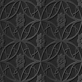 Seamless 3D elegant dark paper art pattern 205 Oval Cross Flower. Antique black paper art retro abstract seamless pattern background Royalty Free Illustration